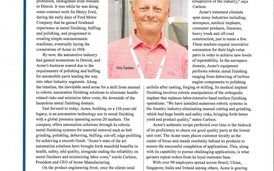 Acme Manufacturing Appears in Manufacturing Technology Insights Magazine