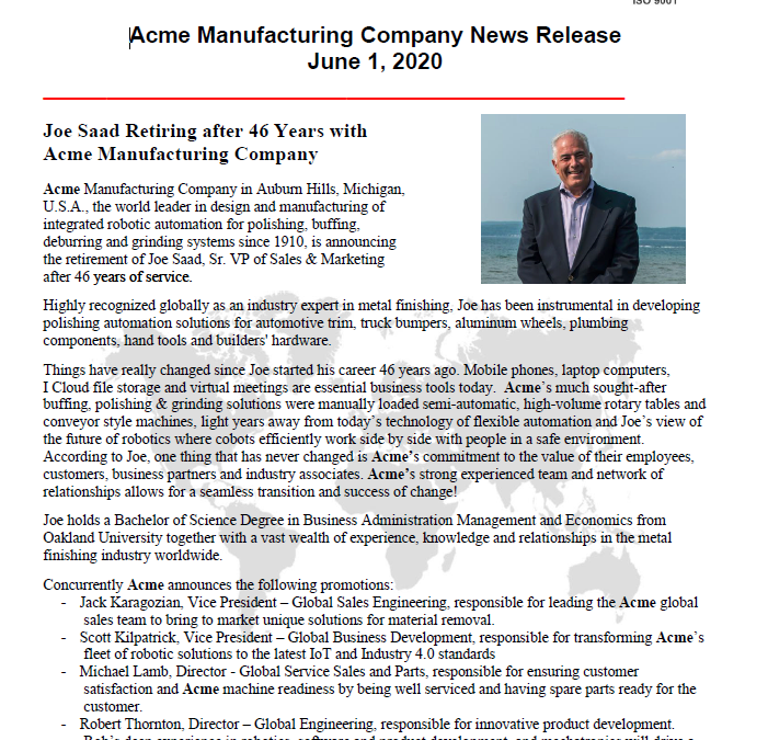 Joe Saad Retiring after 46 Years With Acme Manufacturing Company