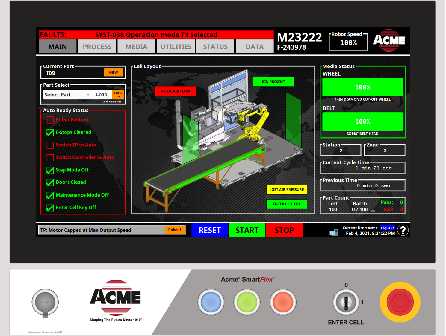Operator Display Screen of an Acme Robotic Foundy Cut-Off Application